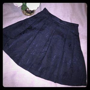 BR Navy/Blk Brocade Pleated Skirt (w/POCKETS) 0